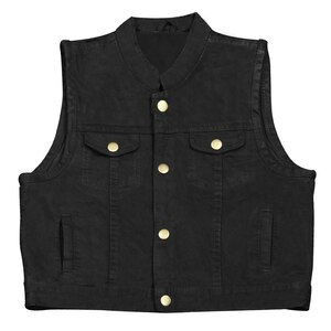 KV744 Kids Childrens Boys Girls Biker Motorcycle SOA Club Style Black or Blue Denim Vest -Black