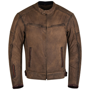 Mens Brown Waxed Cotton Cafe Style Scooter Motorcycle Jacket
