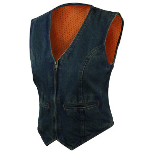Womens Zipper Front V Neck Denim Vest