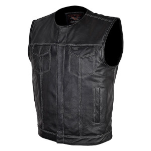 Vance VL919GS Men's Black Premium Cowhide Leather Biker Motorcycle Vest With Quick Access Conceal Carry Pockets and Gray Stitching