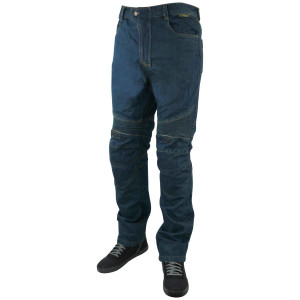 Mens Denim Motorcycle Pants with CE Armor-Blue