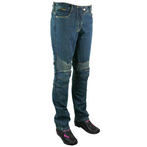 Womens Denim Motorcycle Pants with CE Armor and Kevlar-Blue