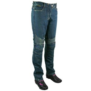 Womens Denim Motorcycle Pants with CE Armor-Blue