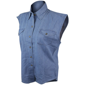Vance Womens Biker Motorcycle Denim Sleeveless Shirt-Blue