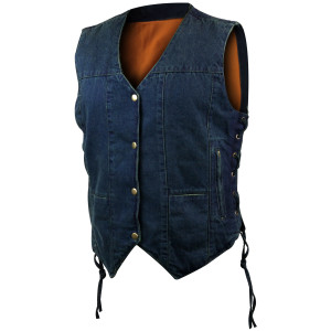 Jafrum LV775 Women's Black or Blue Six Pocket Concealed Carry Denim Vest