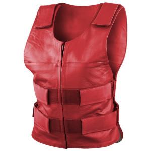 Women's Grey Pink or Red Bulletproof Style Lady Biker Cowhide Leather Motorcycle Vest -Red