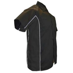 Vance Men's Button Front Garage Mechanics Shirt- Black