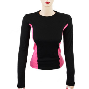 Women's Long Sleeve Fitted Motorcycle Shirts-Fuchsia-Front View