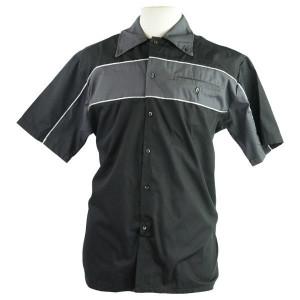 Men's Classic Button Front Pit Shirt - Black/Grey
