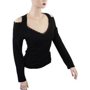 Women's Clubwear Open Shoulder Motorcycle Shirts-Black