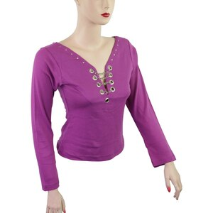 Women's Full Sleeve Studs and Chain Motorcycle Shirt - Purple
