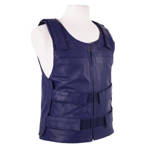 Colored Bullet Proof Style Cowhide Leather Vest - Blue