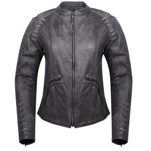 High Mileage HML638DG Women's Lace and Grommet Detail Distressed Gray Goat Skin Leather Lady Biker Motorcycle Fashion Jacket