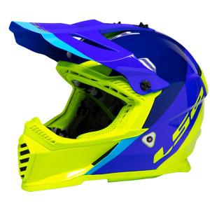 LS2 Youth Gate Launch Helmet - Blue/Hi-Viz