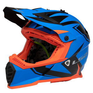 LS2 Youth Gate Twoface Helmet - Blue/Orange