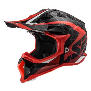 LS2 Subverter Straight Helmet - Red/Black Side View