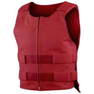 Mens Front Zipper Bullet Proof Style Premium Cow Leather Vest - Red