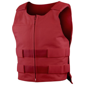 Mens Front Zipper Bullet Proof Style Premium Cow Leather Motorcycle Vest - Red