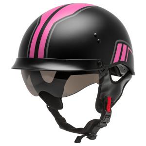 GMax HH 65 Full Dressed Twin Half Helmet - Black/Pink