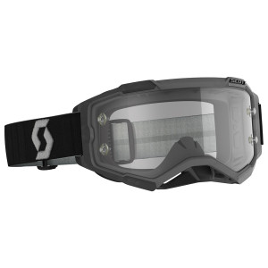 Scott Fury Motorcycle Goggles With Clear Lens - Black/Grey