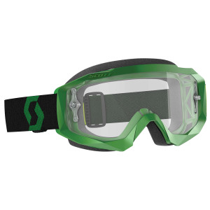 Scott Hustle X Motorcycle Goggles With Clear Lens - Black/Green