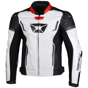 Cortech Apex V1 Leather Motorcycle Jacket-White/Red