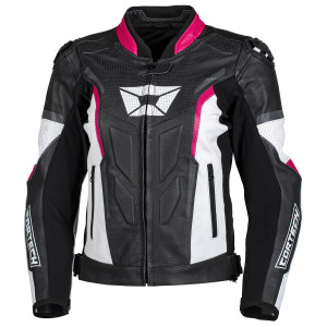 Cortech Women's Apex V1 Leather Motorcycle Jacket-Black/Pink