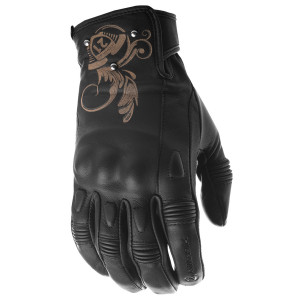 Highway 21 Women's Black Ivy Leather Motorcycle Gloves