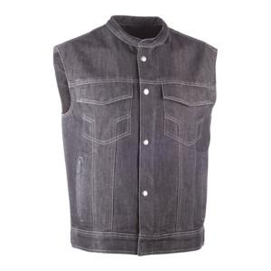 Highway 21 Iron Sights Club Collar Denim Vest - Black