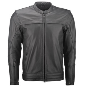 Highway 21 Primer Leather Motorcycle Jacket - Black