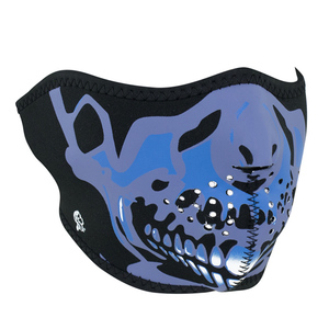 Zan Headgear Blue Chrome Skull Half Face Mask
