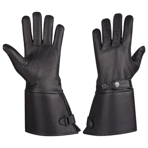 Vance VL432 Mens Thermal Lined Leather Gauntlet Gloves With Snap Wrist and Cuff