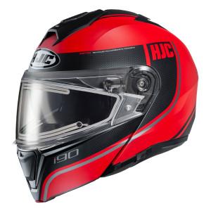 HJC i90 Davan Modular Snow Helmet With Electric Shield - Black/Red