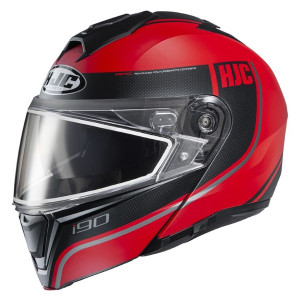 HJC i90 Davan Modular Snow Helmet With Dual Lens Shield - Black/Red