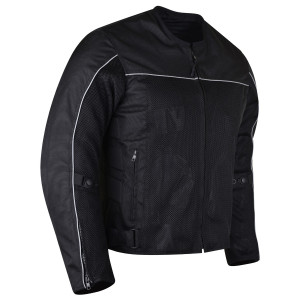 Advanced Vance VL1626 'Velocity' Waterproof 3-Season Mesh/Textile CE Armor Motorcycle Jacket - Black