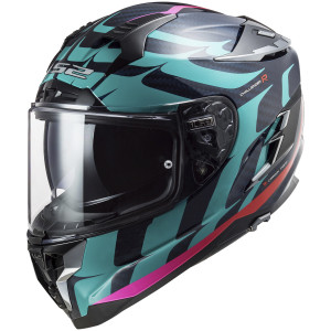 LS2 Challenger Carbon Flames Helmet-Blue/Red