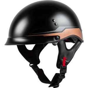 GMax HH 65 Source Full Dressed Half Helmet-Black/Brown
