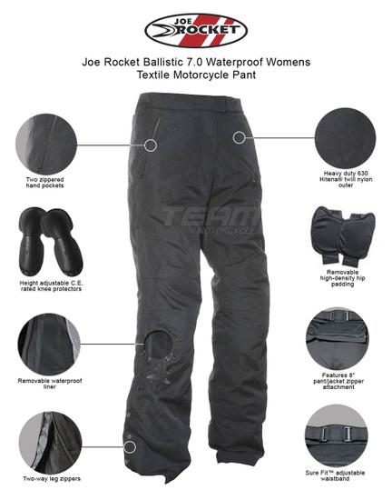 Joe Rocket Ballistic 7.0 Waterproof Womens Textile Motorcycle Pant - Infographics
