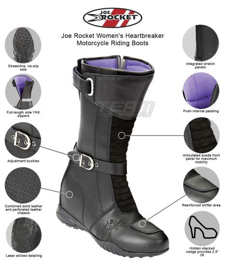 Joe Rocket Women's Heartbreaker Motorcycle Riding Boots - Infographics