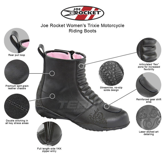 Joe Rocket Women's Trixie Motorcycle Riding Boots - Infographics