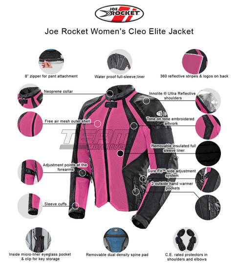 Joe Rocket Cleo Elite Womens Mesh Motorcycle Jacket - Infographics