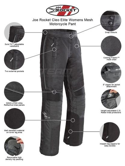 Joe Rocket Cleo Elite Womens Mesh Motorcycle Pant - Infographics