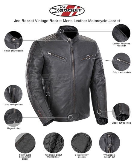 Joe Rocket Vintage Rocket Mens Leather Motorcycle Jacket - Infographics