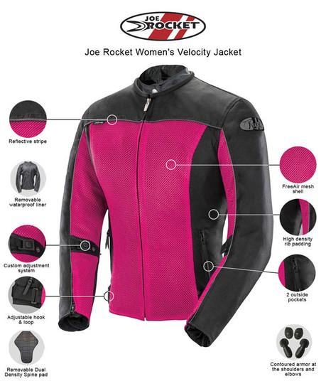 Joe Rocket Velocity Womens Mesh Motorcycle Jacket - infographics