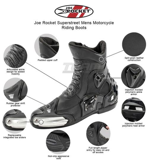 Joe Rocket Superstreet Mens Motorcycle Riding Boots - Infographics