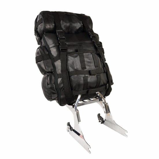 Jafrum SB1 Black Expandable Leather Motorcycle Luggage Travel Backpack Rucksack Sissy Bar Bag