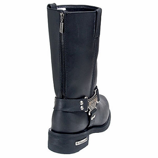 Mens Milwaukee Motorcycle Clothing Company MMCC Classic Harness Motorbike Biker Riding Black Leather Boots - Back View