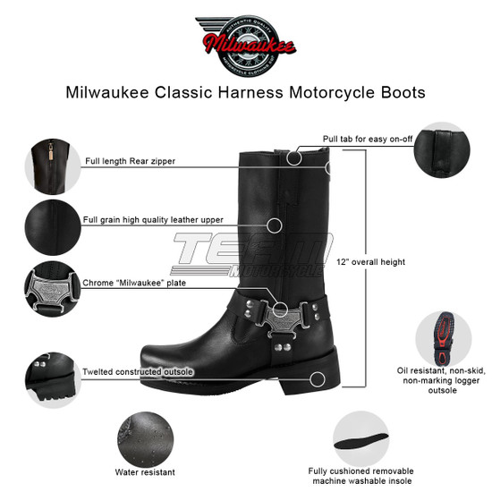 Mens Milwaukee Motorcycle Clothing Company MMCC Classic Harness Motorbike Biker Riding Black Leather Boots - Infographics