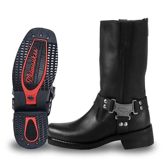 Mens Milwaukee Motorcycle Clothing Company MMCC Classic Harness Motorbike Biker Riding Black Leather Boots