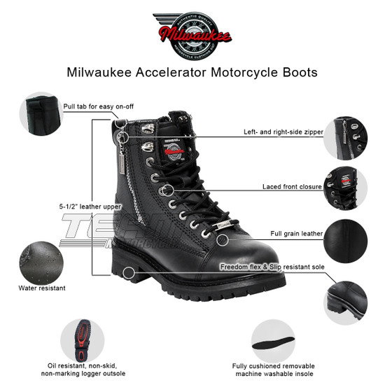 Mens Milwaukee Motorcycle Clothing Company MMCC Accelerator Motorbike Biker Riding Black Leather Boots - Infographics